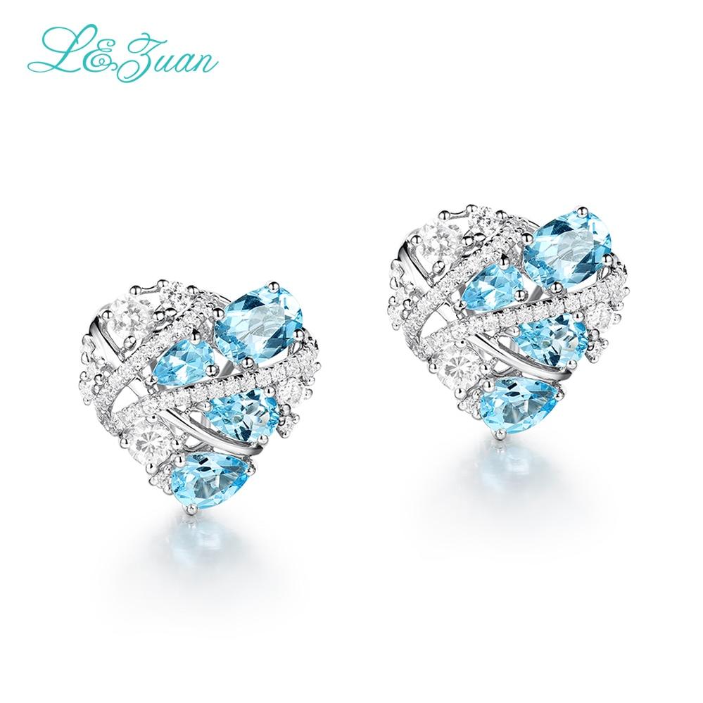 Ausdrucksvoll I & Zuan 925 Sterling Silber Ohrring Schöne Herzform Clip Mode Ohrringe Für Frauen Natürliche Topaz Blue Stein Valentine Geschenke