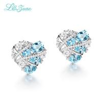 I&Zuan 925 Sterling Silver Earring Lovely Heart Shape Clip Fashion Earrings For Women Natural Topaz Blue Stone Valentine Gifts