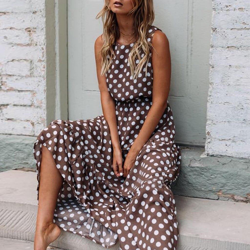 New Sleeveless Polka Dot Dress Of Women Casual O Neck Maxi Dresses Ladies Summer Beach Holiday Long Dress Vestidos 2019