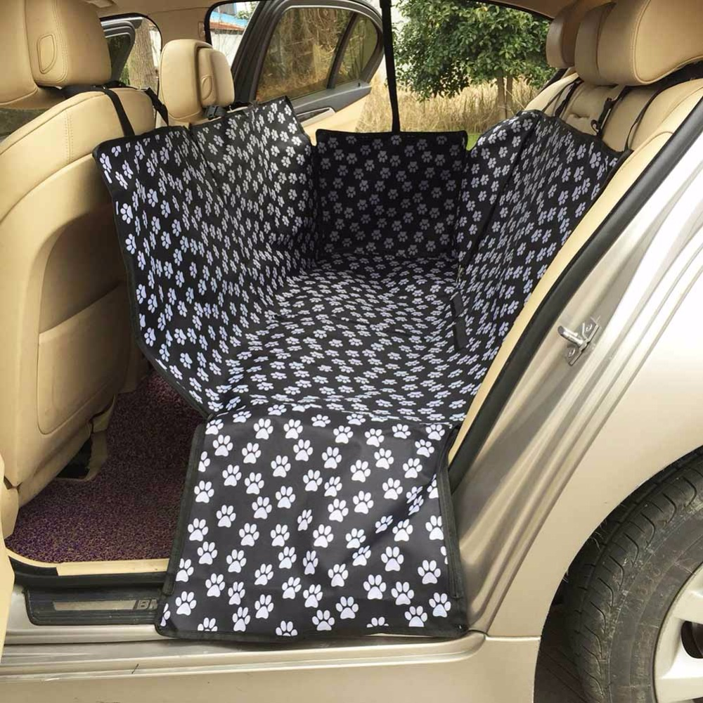 Dog Car Seat Covers Waterproof Pet Carriers Oxford Fabric Paw Pattern Back Bench Seat Accessories Travel Car Seat Hammock Mat