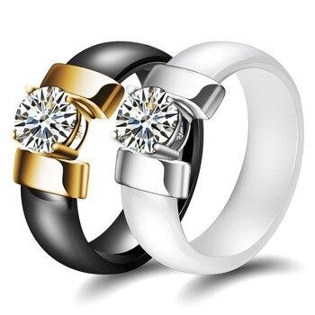 Женское керамическое обручальное кольцо с фианитом