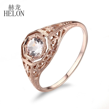 HELON Real 10K Rose Gold Certified Round 4.5MM Natural Morganite Engagement Wedding Ring Vintage Antique Women Fine Jewelry Ring image