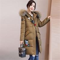 2018 Big Real Fur Winter Jacket Women Coat Warm Slim Thick Long Parkas Raccoon Fur Collar Hooded For Women Coats Female