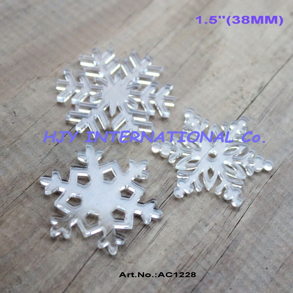Acrylic clear ornaments -  3styles 48pcs Lot 38mm Assorted Clear Acrylic Snowflakes Christmas Ornaments 1 5