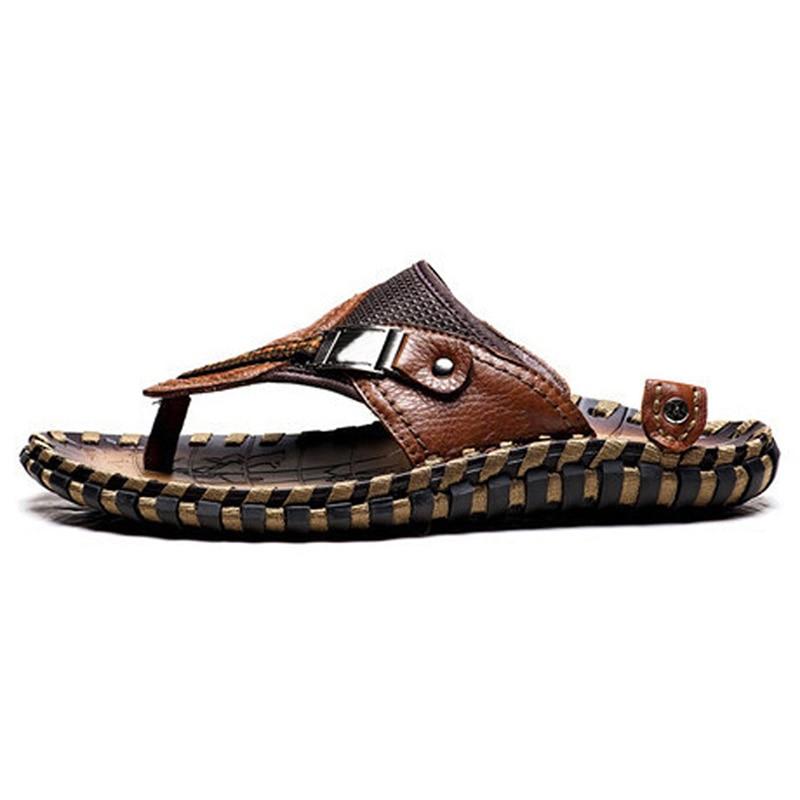Hohe Qualität Handgemachten 100% Kuh Echtes Leder Sommer Schuhe Männer Modemarke Schuhe Herren Sommer Strand Hausschuhe rutschfeste-in Flip-Flops aus Schuhe bei AliExpress - 11.11_Doppel-11Tag der Singles 1