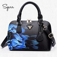 SGARR femme sac à main en cuir de luxe sacs en cuir sacs à main totes date chine noir femme sac bandoulière impression floral shell sac