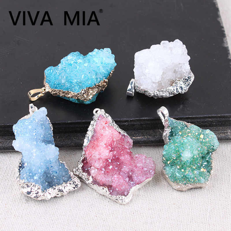 Druzy Jewelry Made Of Natural Stone Pendulum Pendants Crystal Pendant Gold Silver Plating Natural Gem Stone Necklace