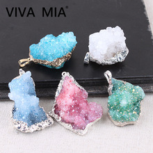 Druzy Jewelry Made Of Natural Stone Pendulum Pendants Crystal Pendant Gold Silver Plating Gem Necklace