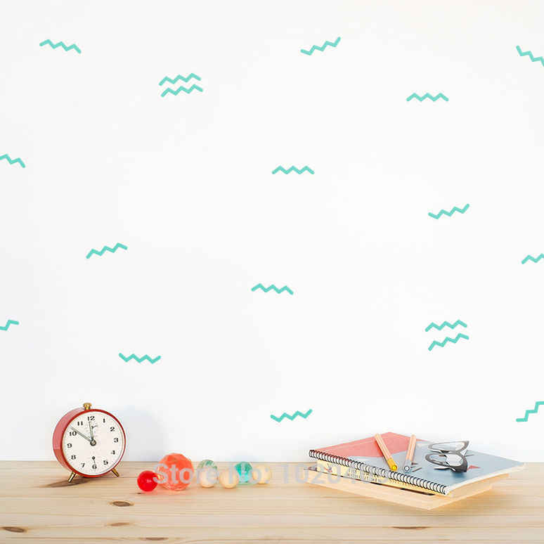 Геометрические Волны океана стикер точка звезда шаблон настенные наклейки для детской комнаты с декоративной виниловой пластинкой настенные наклейки девушки безопасный зеленый настенные наклейки