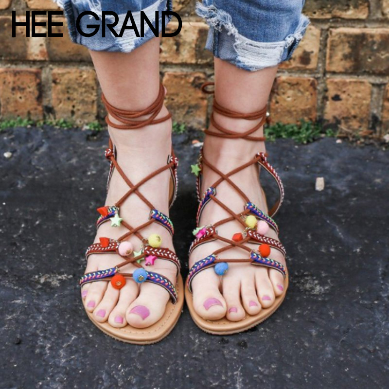 HEE GRAND 2018 New Summer Flats Gladiator Thong Sandals Lace-up Woman Causal Flat With Flip Flops Mujer Shoes Sandals XWZ5021