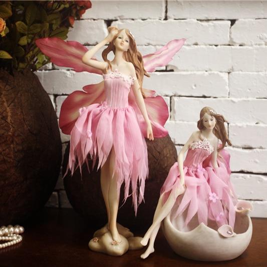 European Pink Flower Fairy Girl Birthday Gift, Jewelry Ornaments Home Furnishing, Angel Jewelry Box,Decoration Crafts