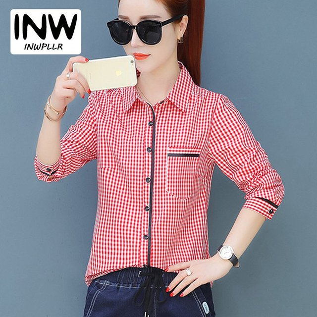 8740e4815 Blusas a cuadros Camisas de Mujer 2019 otoño camisas de manga larga de  chifón para Mujer