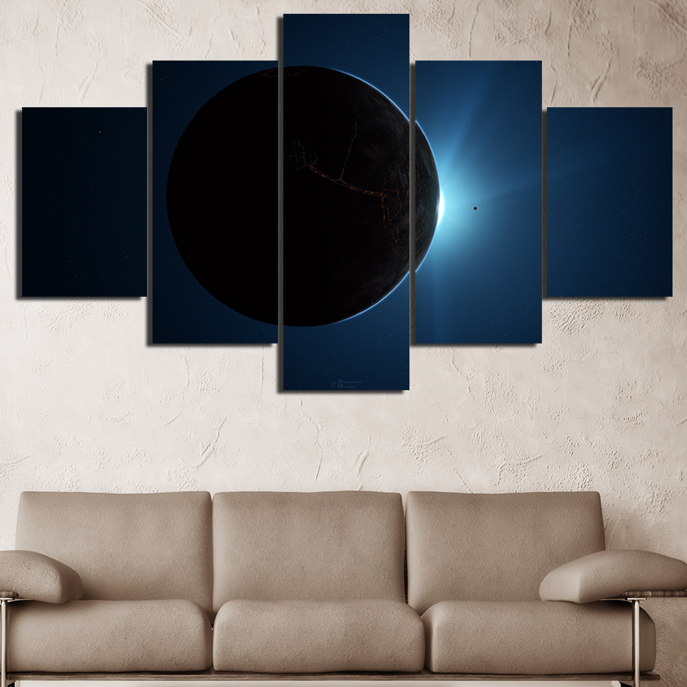 Colouring sheets of the lunar eclipse - 5 Pieces Lunar Eclipse Hd Oil Printed Painting Canvas Coloring Space Painting Children Room Modern Wall