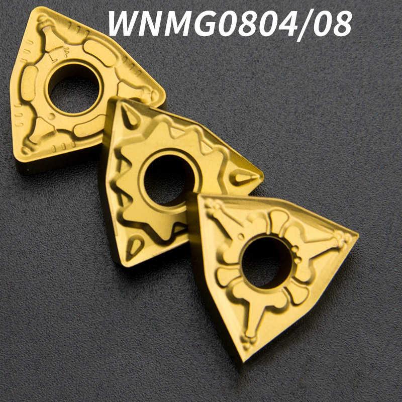 10 pçs wnmg080404 ferramenta de torneamento cnc inserção wnmg 080404 ferramenta torneamento externo gama completa cortador redondo cabeça buraco