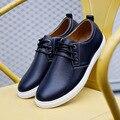 Nueva Más El Tamaño de Los Hombres Zapatos de Moda de Encaje HASTA Zapatos Casuales Pu Leater Hombre Verano Zapatos Negros Bajos Zapatos Planos de Los Holgazanes Tamaño 45,46, 47,48, 49