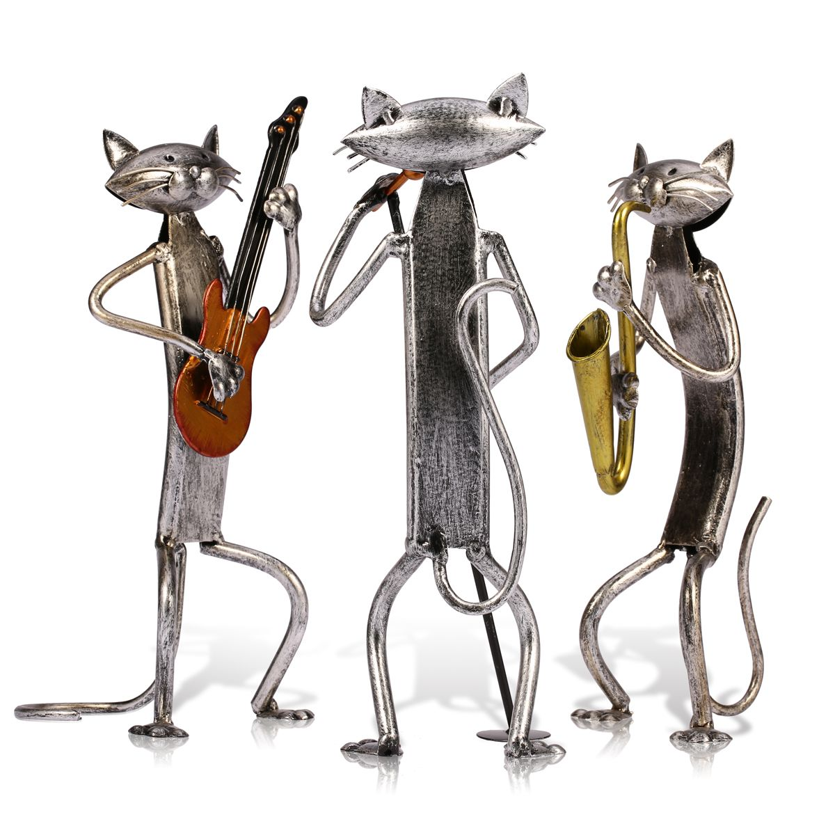 Metal Sculpture  Gift For New Year Playing Saxophone Singing Cat Figurine Home Furnishing Articles Handicrafts  Home Decoration
