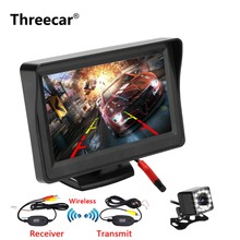 Threecar 4 3 TFT LCD Car Monitor Back Up Reverse Parking Camera 8LED CCD Waterproof Vehicle