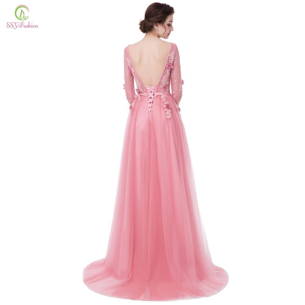 Ssyfashion nuevo vestido de novia Rosa dulce Encaje Flor de sleeevd ...