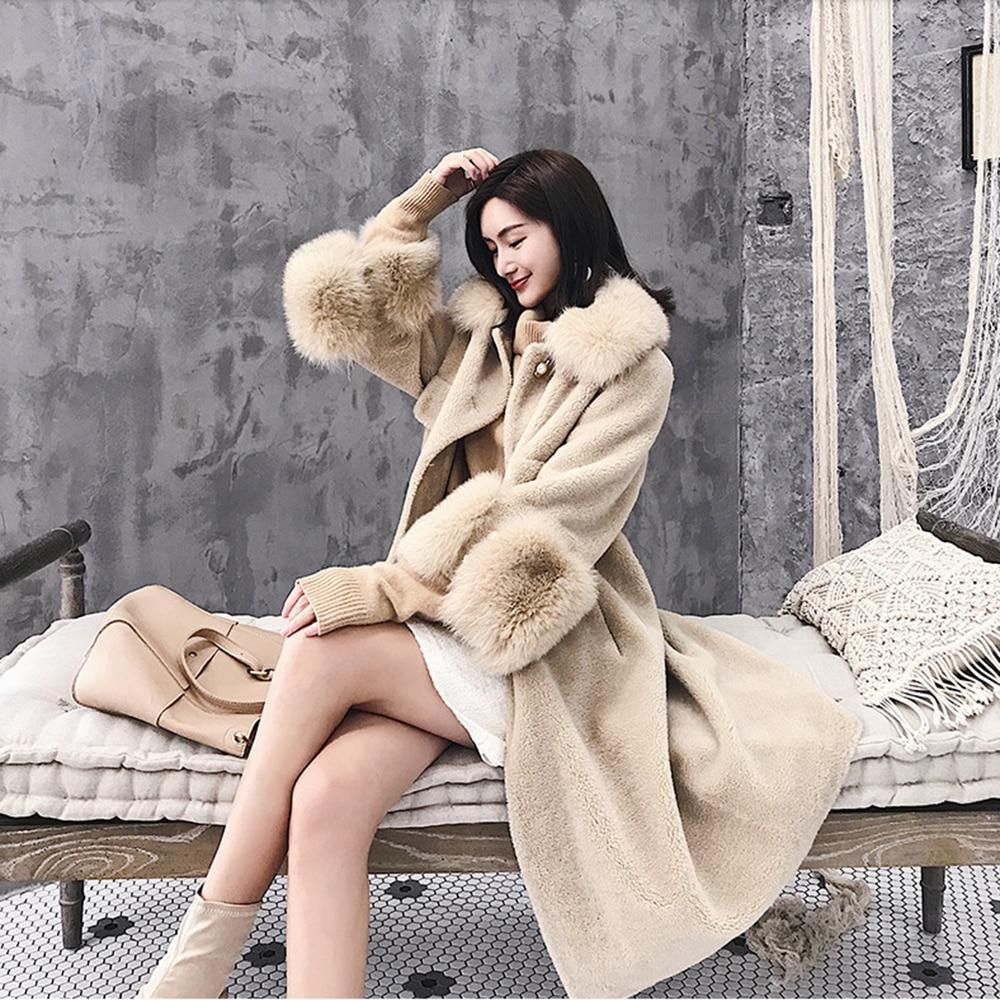 Nouveaux vent Avec Coupe Manteau Fourrure Peau Femmes Beige Parka En D'hiver De 2019 Femme Fox Naturel Mouton Sortie kaki Réel Véritable Col Vêtements TFwUwgqZ
