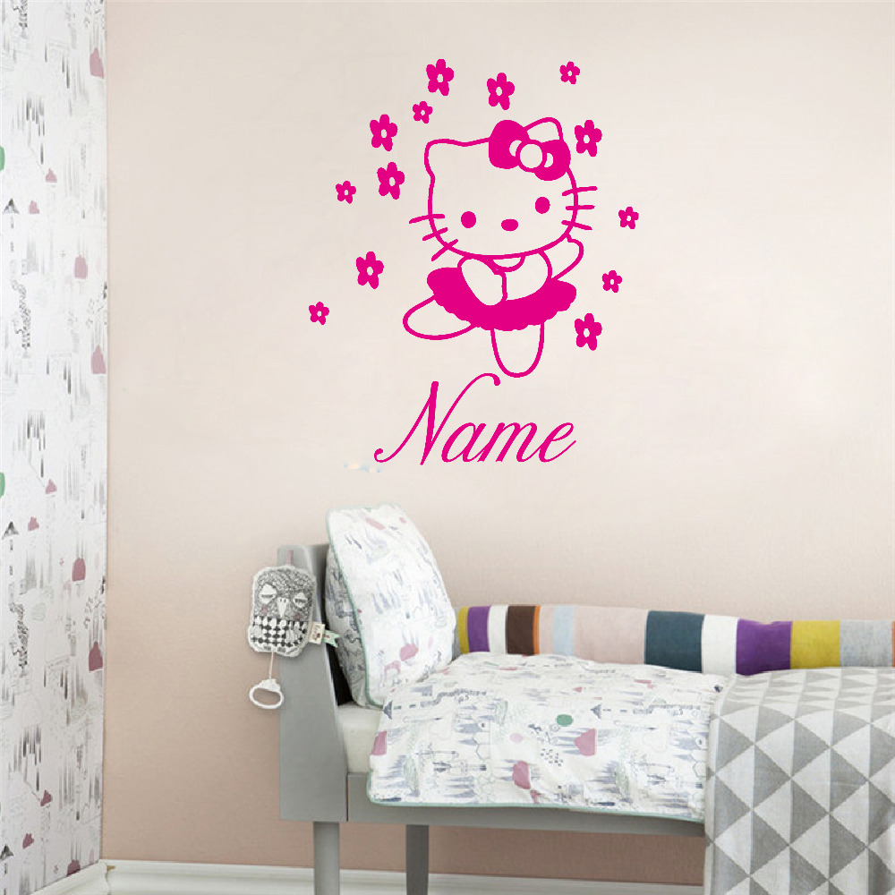 HELLO KITTY Fairy Personalised Name Wall Sticker Art Decal Vinyl Kids Girl  Room Decorative Free Shipping ,c2065 Part 73