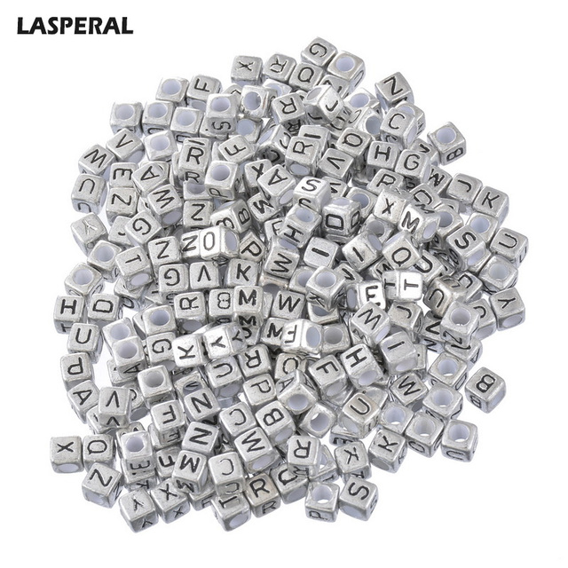 LASPERAL DIY Beads 500PCs Random Mixed Alphabet  Beads Letter Acrylic Cube Beads For Making Necklace & Bracelet Jewelry 6x6mm