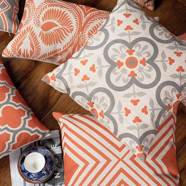 Drop Ship Orange Grey Geometric Pillow Cover Boho Linen Cotton