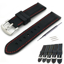 20mm 22mm 24mm 26mm  Black Silicone Rubber Watch Band Watch Strap Waterproof Watchbands thicken 316L Steel Buckle high quality waterproof rubber silicone strap 22mm 24mm black men s watchbands for pam with original logo free shipping