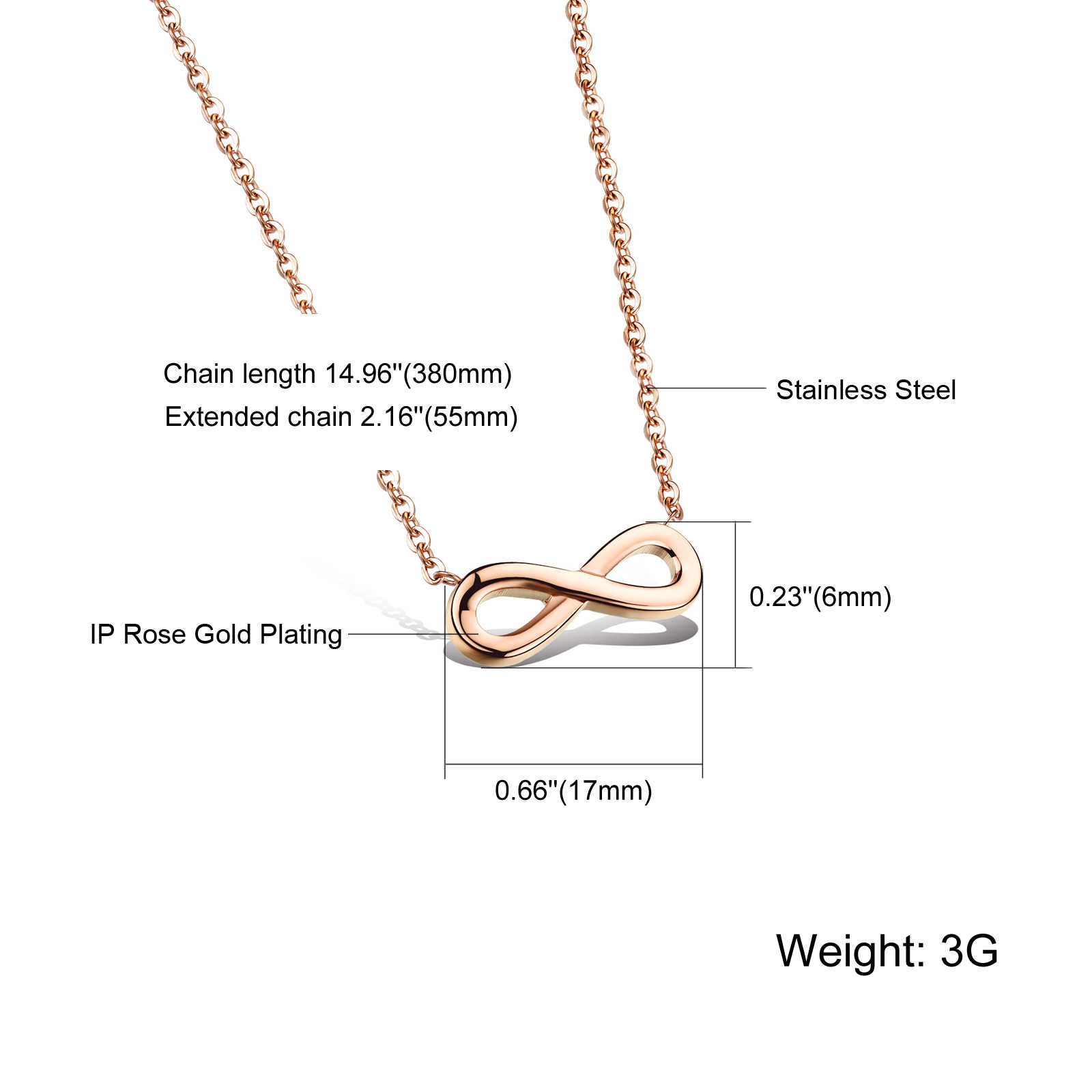 Romantic Simple Stainless Steel Infinity Symbol Necklaces Rose Gold color Women Chain Charm Eternity Pendants
