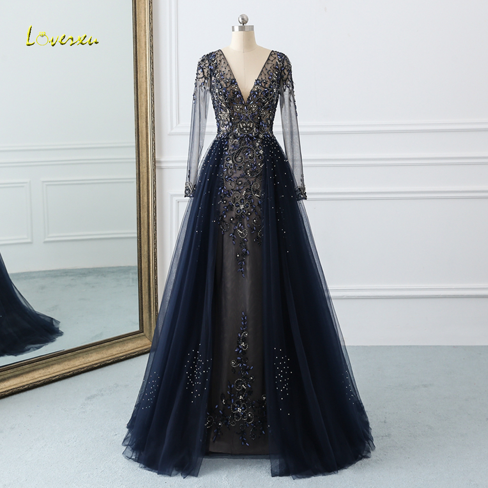 Loverxu Sexy Illusion Long Sleeve Mermaid   Prom     Dress   2019 V Neck Beaded Crystal Pearls Trumpet   Dress   for Party Vestido De Festa
