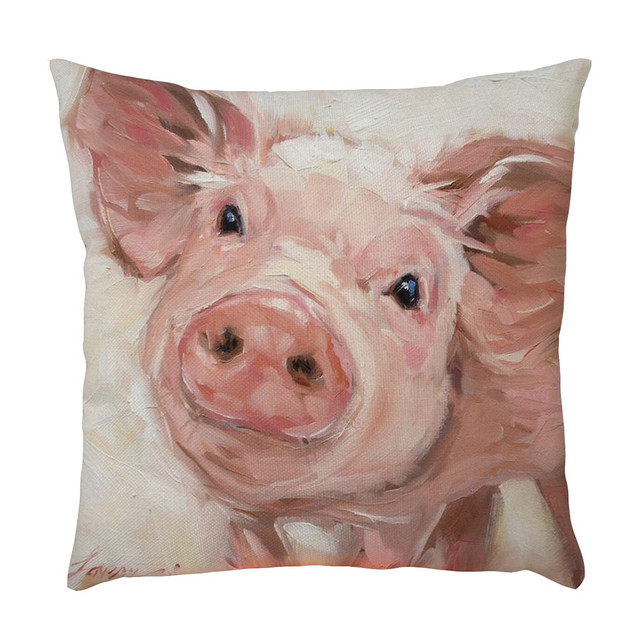 Padrão Animal Impresso Capa de Almofada Almofadas Capa Tecido De Linho da Cópia Do Cão Vaca Porco Quarto Home Fronha Para O Assento Do Sofá