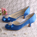 Custom Name Blue Satin Women Shoes Bride Low Heel Spring Autumn Shoes Pumps Dropshipping