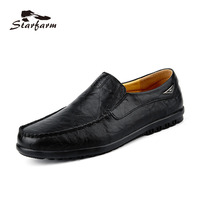 STARFARM Men Shoes Genuine Leather Moccasin Loafers Designer Slip On Flat Boat Shoes Male Classical Chaussure