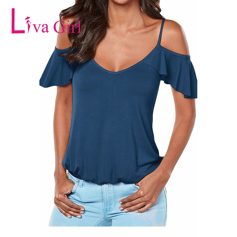 f42df18a Liva Girl Summer Casual Crisscross Back Cold Shoulder T-shirt Women Chic  Cutout Ruffle Swing Sleeve Tops Loose Poleras De Mujer