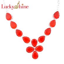 Luckyshine Dazzling Oval Fire Drop Red Quartz Silver Plated Wedding Chain Necklaces Russia USA Canada Pendants Necklaces(China)