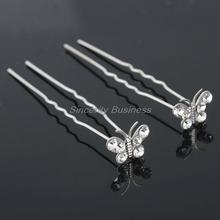 NEW 20pcs/Lots Wedding Bridal Crystal Faux Pearl Flower Hairpins Hair Pins White K6  butterfly