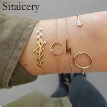 Sitaicery 4 Pcs/set Bohemian Bracelet Gold Bracelets For Women Girlfriend  Sequin Moon Lightning Leaf Femme Jewelry New