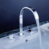 2 Handles Square Bath Mixer Taps Widespread Waterfall Bathroom Sink Faucet Or Bath Tub Faucet Chrome