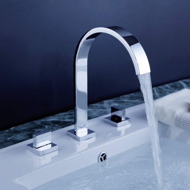 2 Handles Square Bath Mixer Taps Widespread Waterfall Bathroom Sink ...
