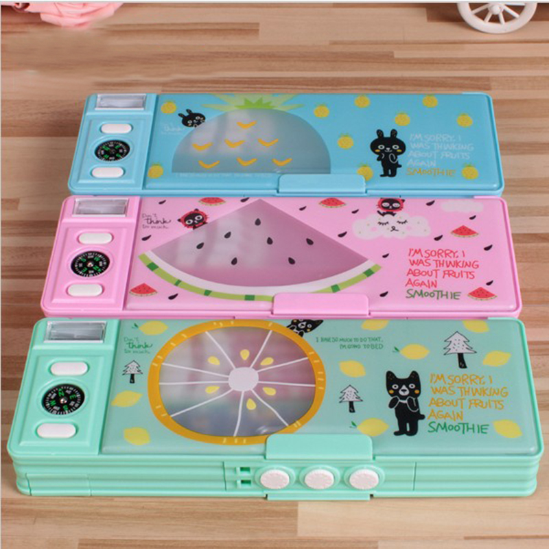 factory direct new children cartoon multifunctional stationery box password transparent double-sided pencil box 24.5*9*3.5cm все цены
