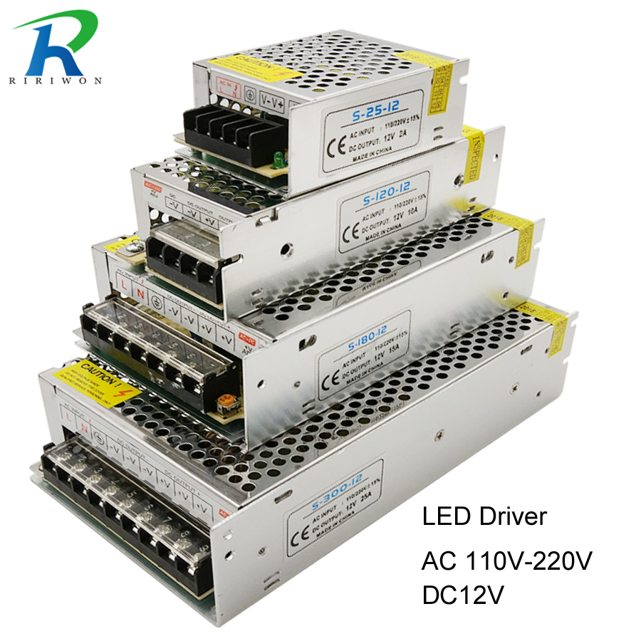 <font><b>Power</b></font> <font><b>Supply</b></font> LED Driver DC <font><b>12V</b></font> Small Volume Single Transformer 5A 15A <font><b>25A</b></font> 3A dc12v volt Output Switching led for LED Strip 5050 image