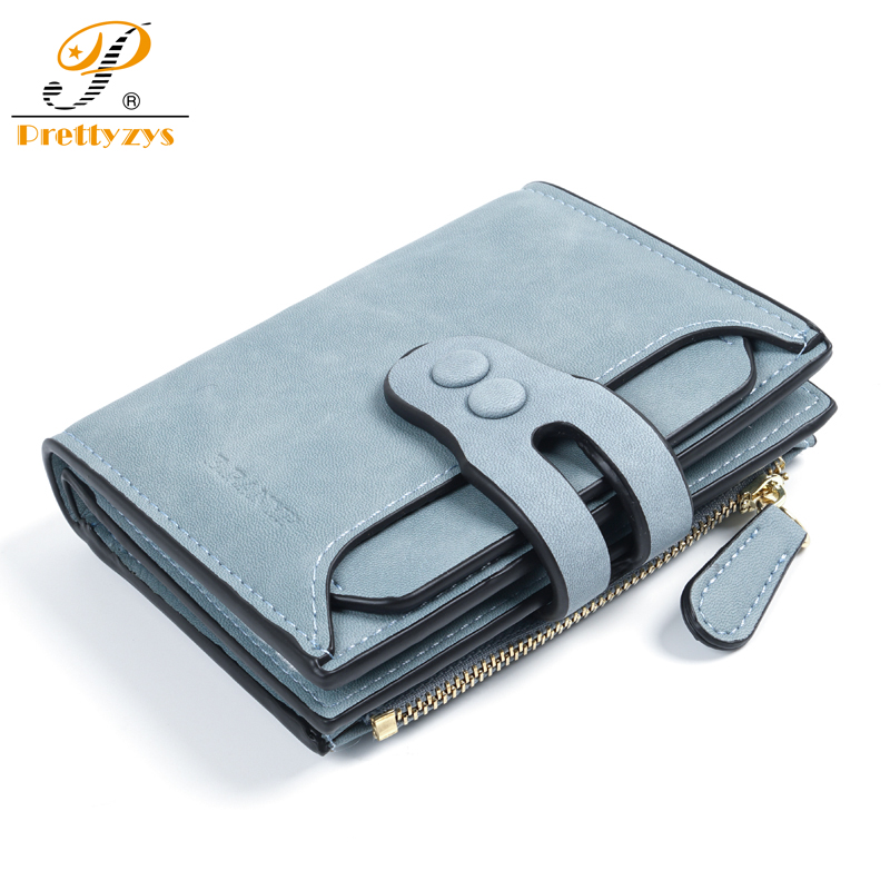 Prettyzys Ladies Wallets Female Women Purse Short Wallet Small PU Leather Vintage Coins Purse Card Holder Zipper Blue Money Bag