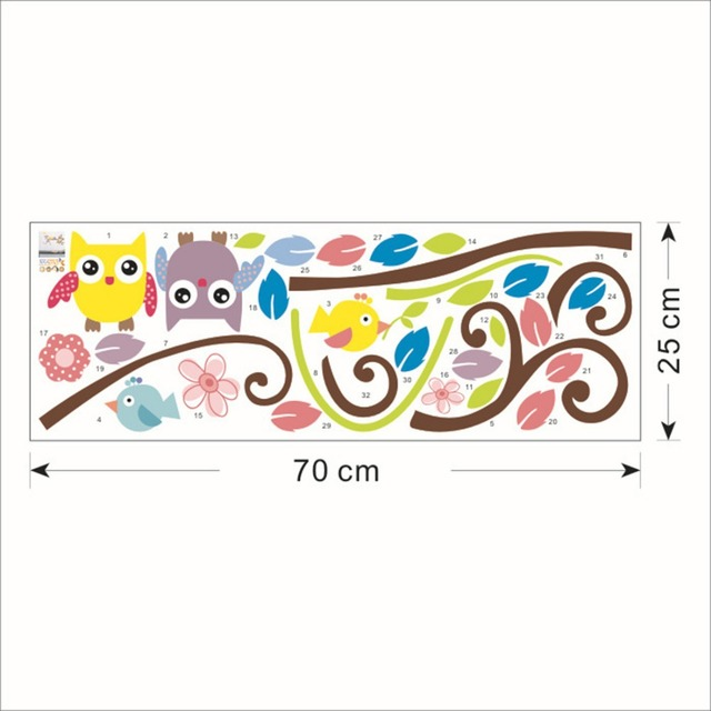 1016 Children Room Wallpaper Decals Sticker Cartoon Owl Picture