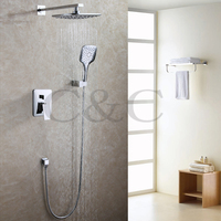 Contemporary Bathroom Shower Faucet Set Chrome Polished Rainfall Bath Shower Head Three Function Hand Shower 005 8A 2