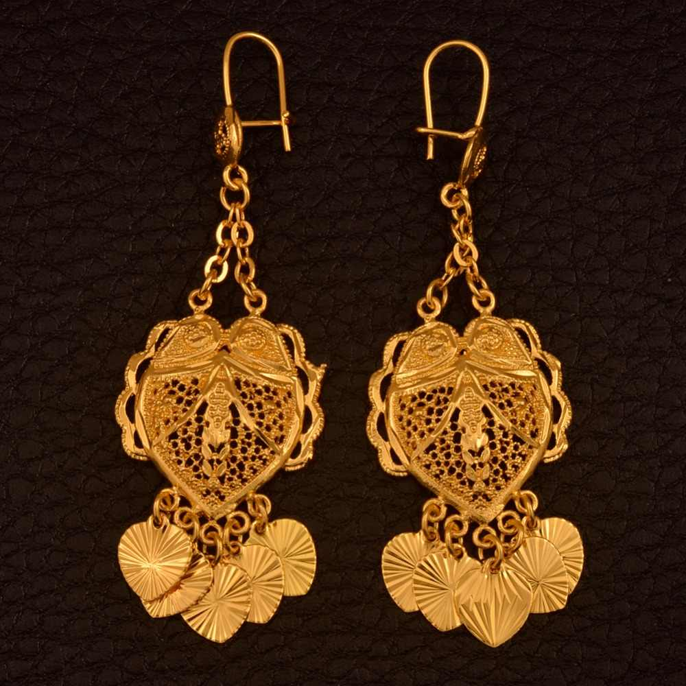 Anniyo Trendy African Earrings Gold Color for Women,Arab Jewelry Gifts With Heart Small Pieces #111206