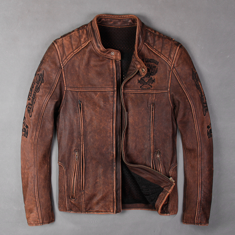 Veste cuir moto homme vintage