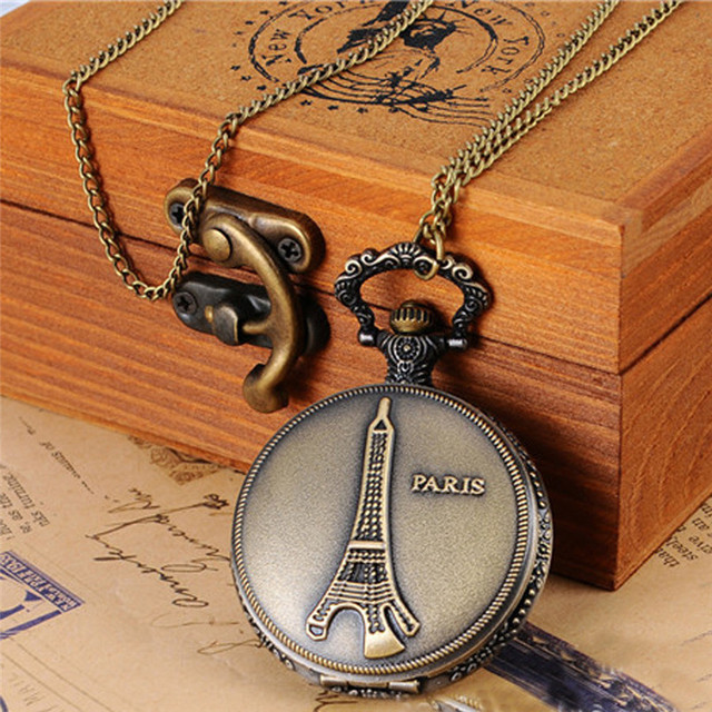 OTOKY Pocket Watch Men Bronze Eiffel Tower Paris Watch Chain Pocket Watch With N