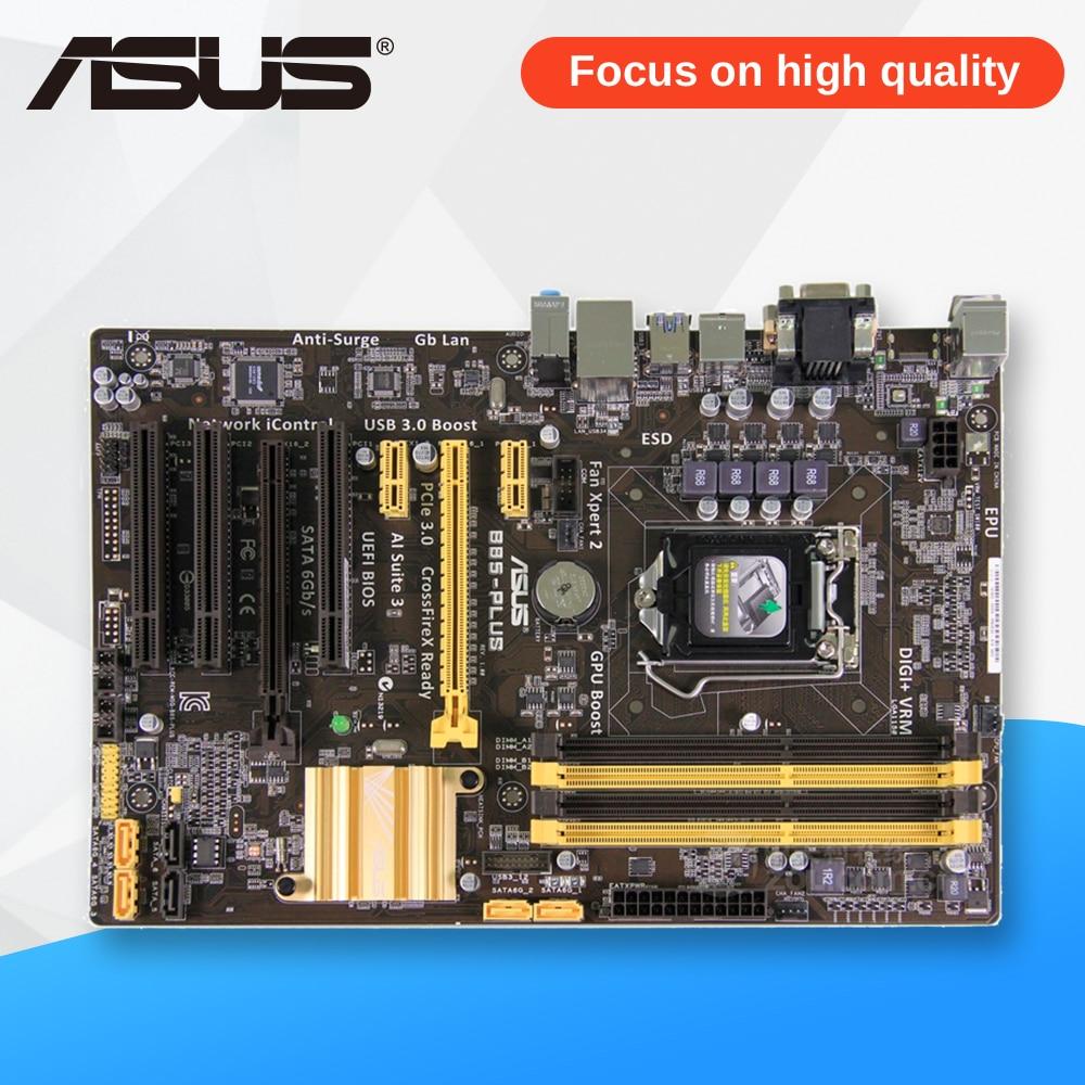 Asus B85-PLUS Desktop Motherboard B85 Socket LGA 1150 i7 i5 i3 DDR3 32G SATA3 USB3.0 ATX used for asus b85m d plus desktop motherboard b85 socket lga 1150 i7 i5 i3 ddr3 16g sata3 micro atx