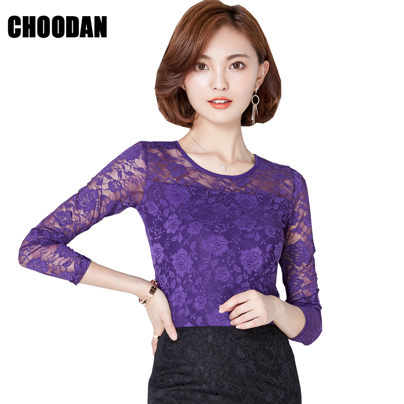 Lace Tops Women Long Sleeve Blouse Shirt Autumn 2018 Fall Korean NEW Fashion Elegant Flower Fitness Clothes Ladies Office Shirts