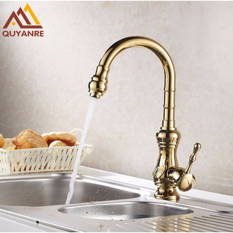 Golden Polish Kitchen Basin Mixer Faucets Single Hole Handle Hot Cold Sink Taps