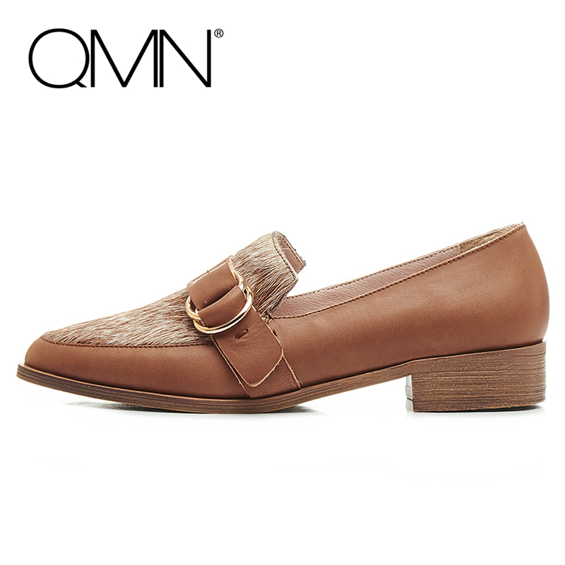 QMN women genuine leather flats Women Buckled Horsehair Paneled Sheepskin Loafers Slip On Leisure Shoes Woman Flats 34-39  qmn women genuine leather flats women horsehair loafers retro square toe slip on flat platform shoes woman creepers 34 42